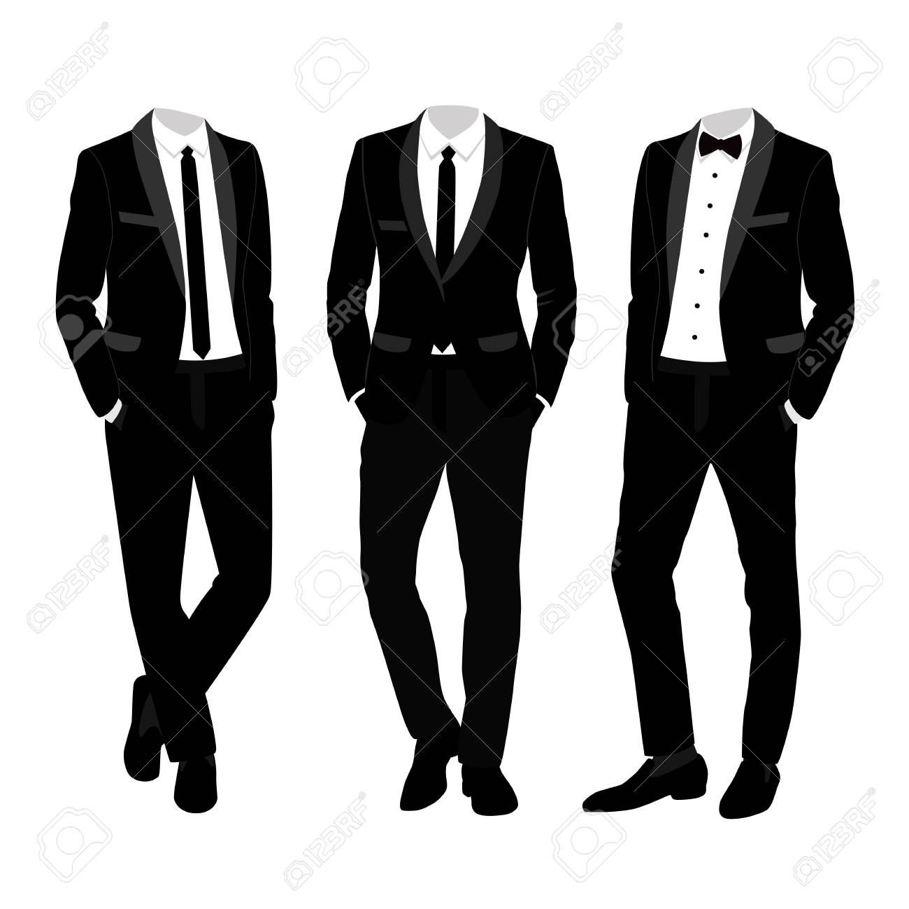 Wedding men's suit and tuxedo. Collection. The groom. Vector...