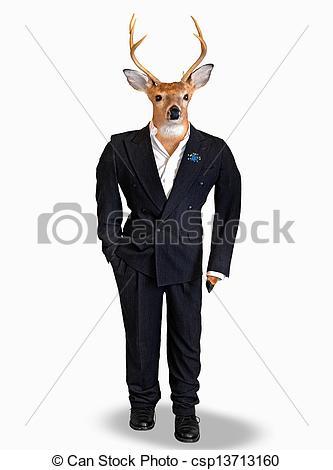 Buck wearing a tuxedo.