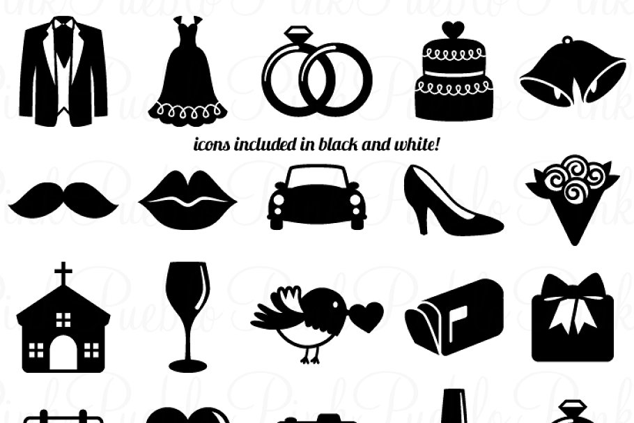 Wedding Icons Clipart and Vectors.