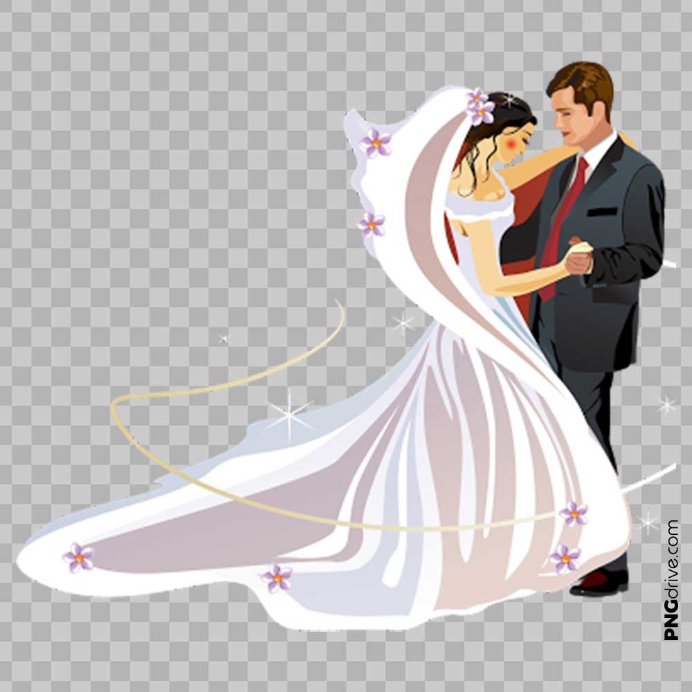 Wedding Vector Couple Clipart PNG Image.