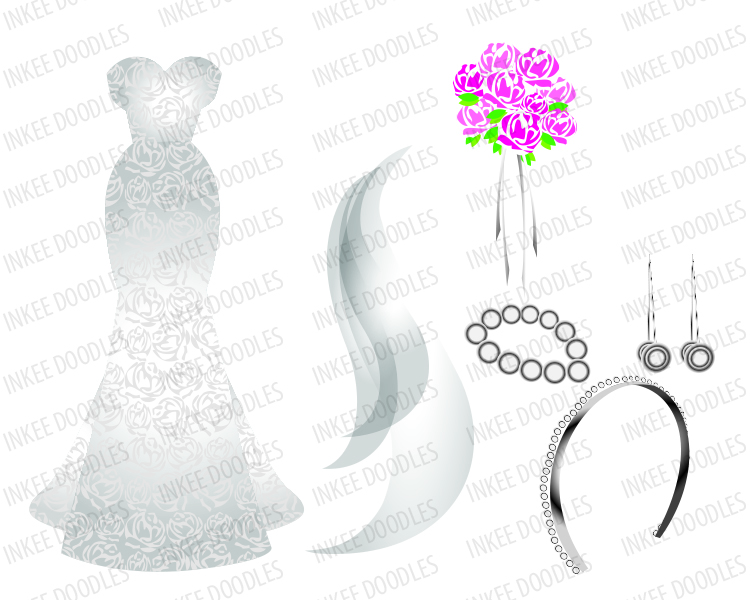 Cute wedding accessories clip art, total of 16 piece designs $6.00.