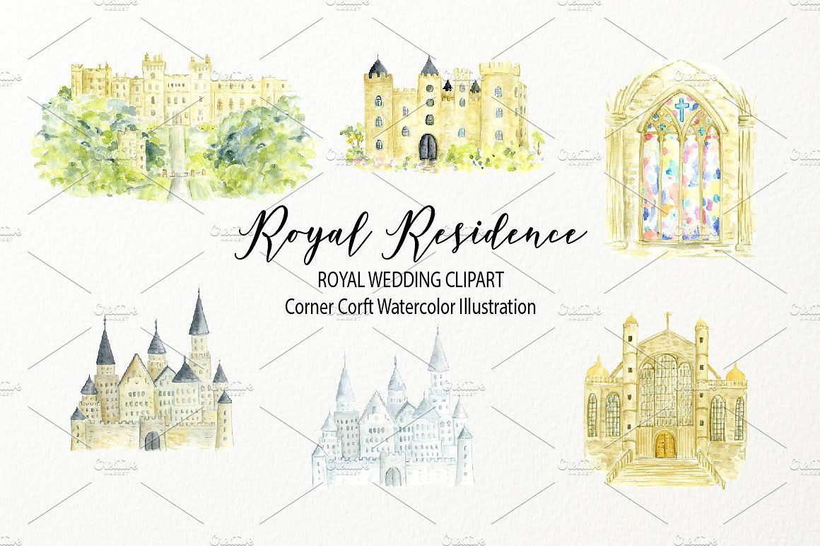 Watercolor royal residence clipart #design#white#yellow.