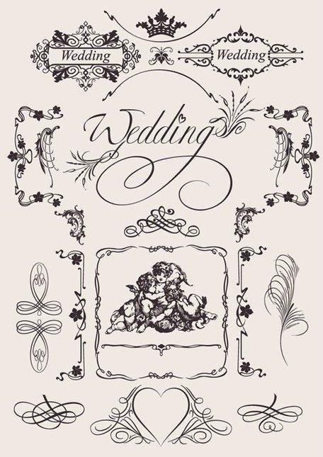 Vector Vintage Wedding Pattern Elements Clipart Picture.