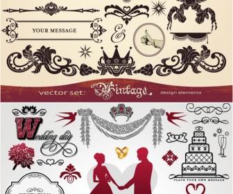 Ornate vintage wedding design elements vector.