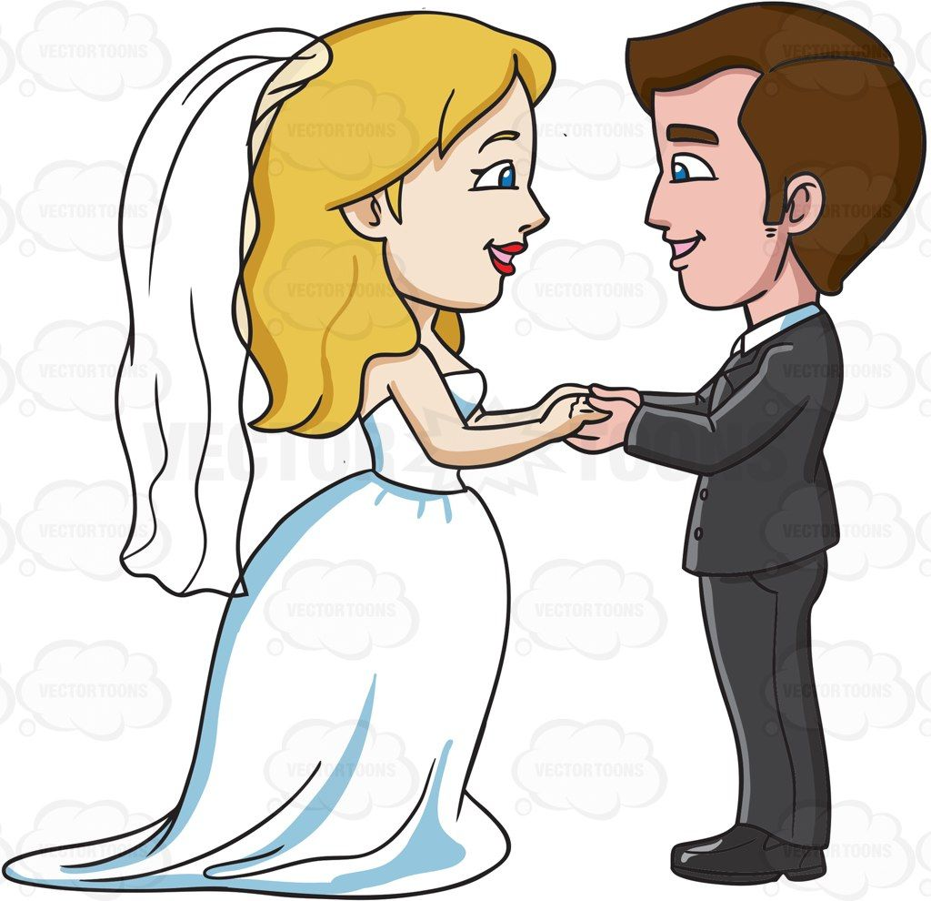 A couple saying their marriage vows #cartoon #clipart.