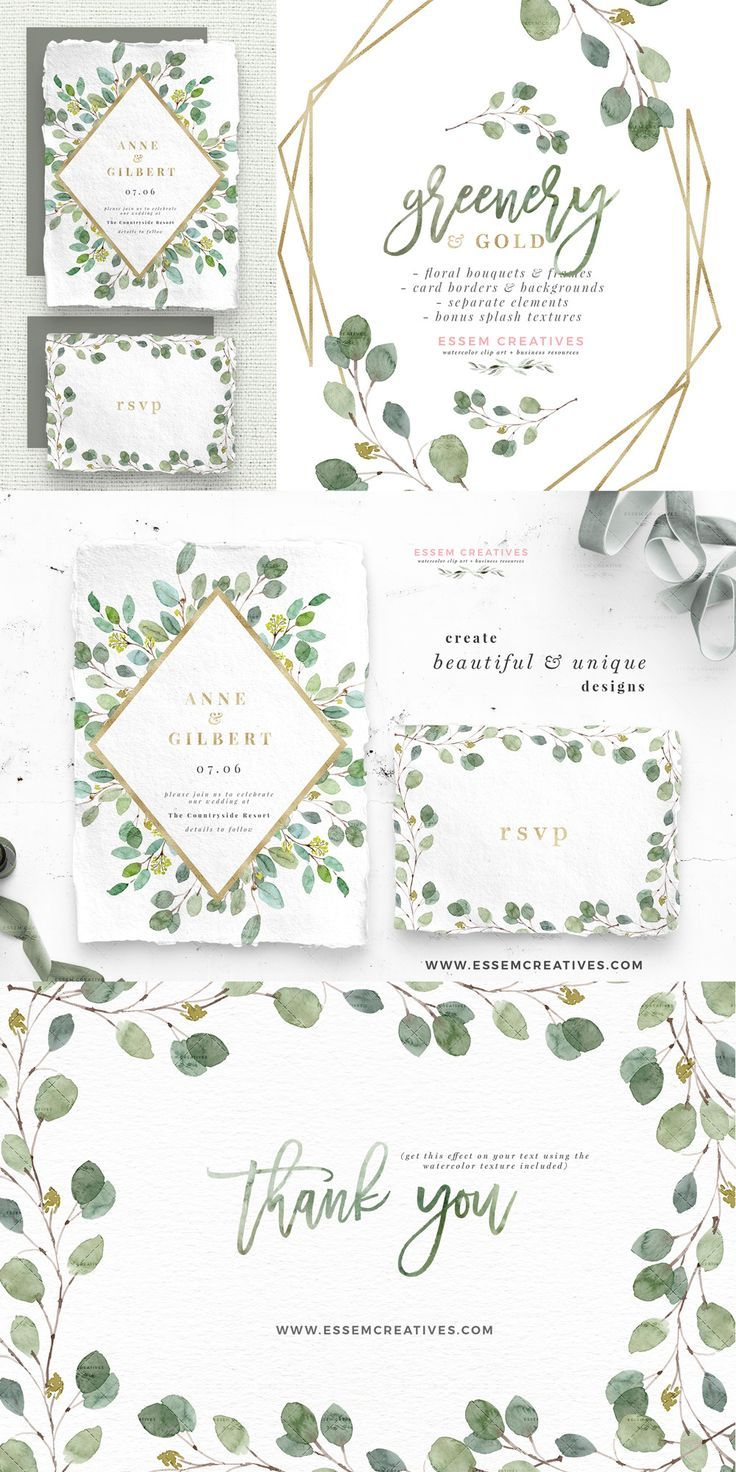 Greenery and Gold Wedding Invitation Graphics, Eucalyptus.