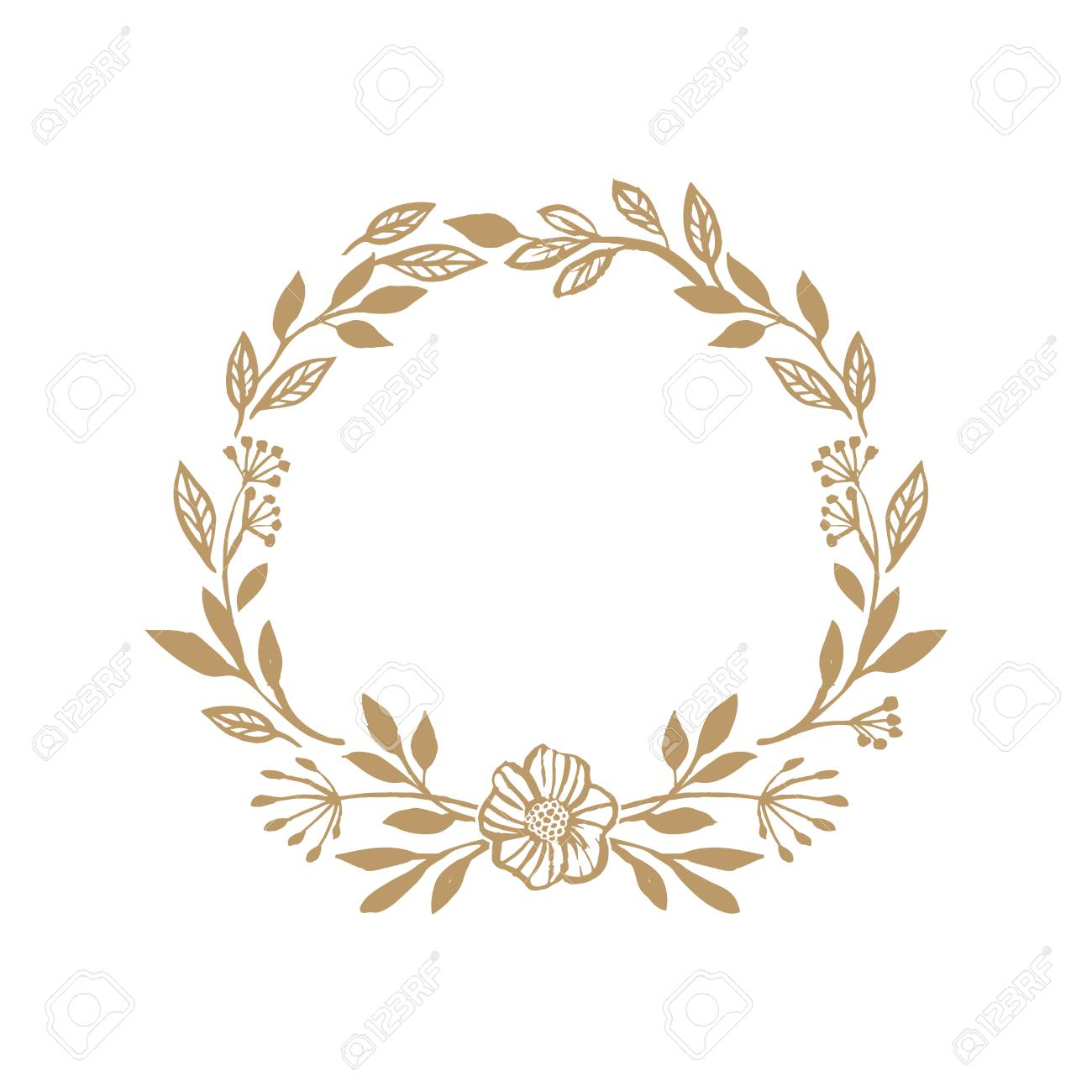 Floral rustic wreath for wedding invitation template design. Bot.
