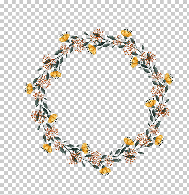 Wedding wreath, yellow, brown, and green wreath PNG clipart.