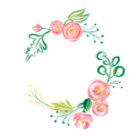 Cute spring Watercolor Vector Flower wreath with place for.