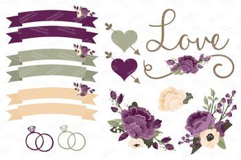 Deep Plum Wedding Floral Clipart & Vectors.