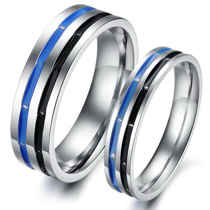 Couple Titanium Stainless Steel Mens Ladies Promise Ring.