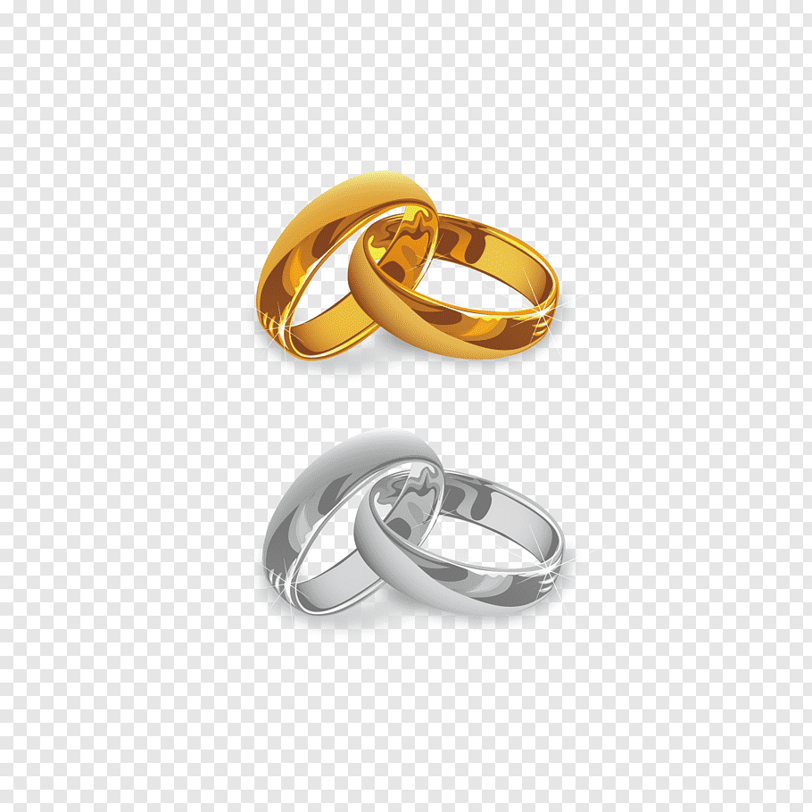 Wedding invitation Wedding ring, gold and silver ring, gold.