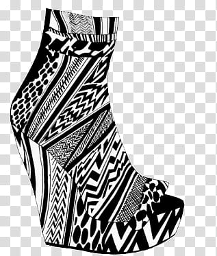Black and white wedge shoe illustration transparent.