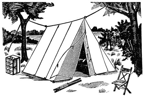 old fashioned tent, vintage camping clipart, wedge tent.