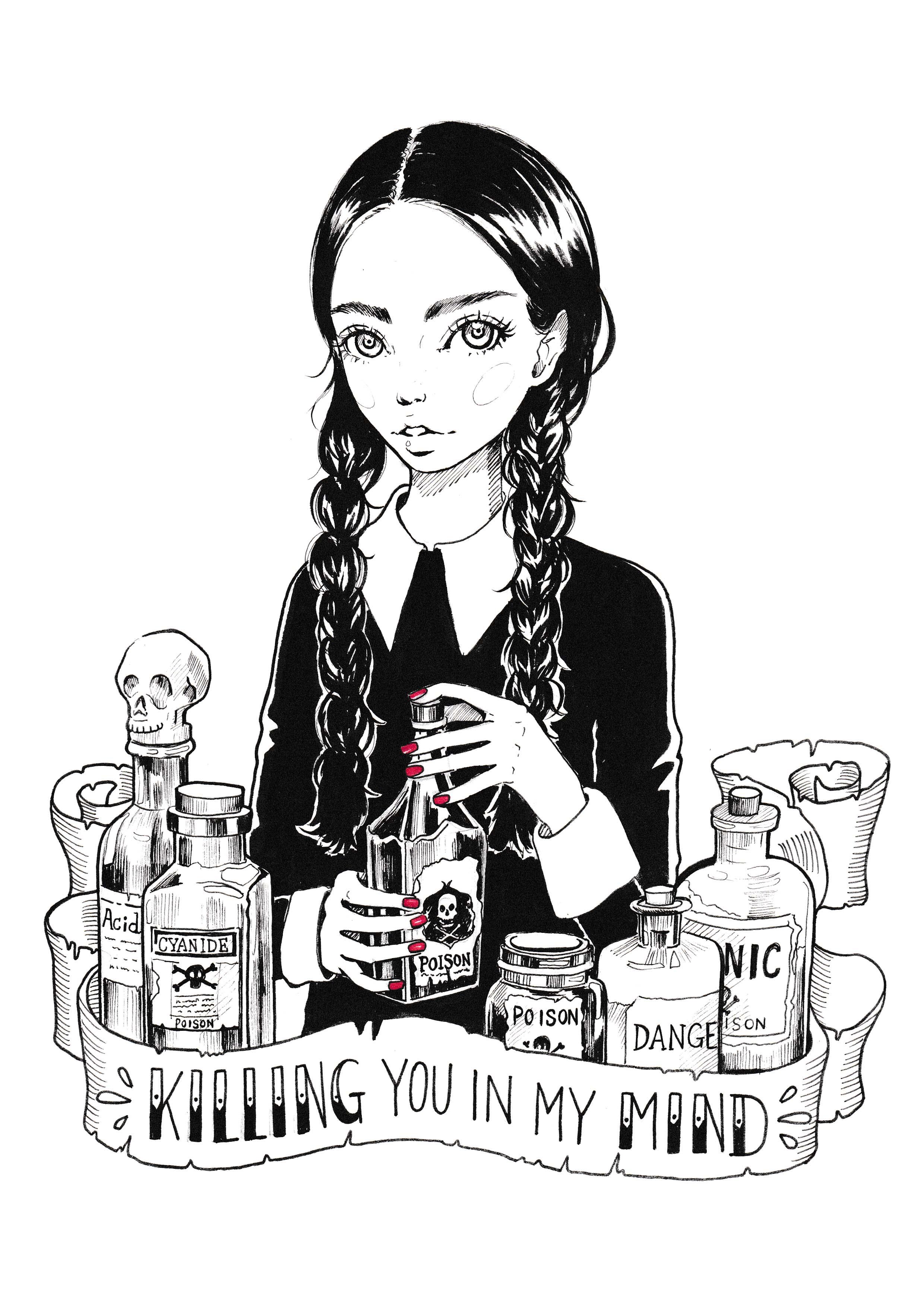 Inktober #25 Wednesday Addams.