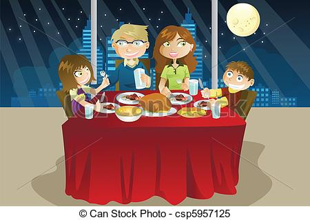 Dinner At Night Clipart.