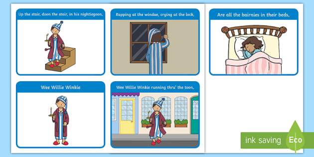 Wee Willie Winkie Story Sequencing Cards.