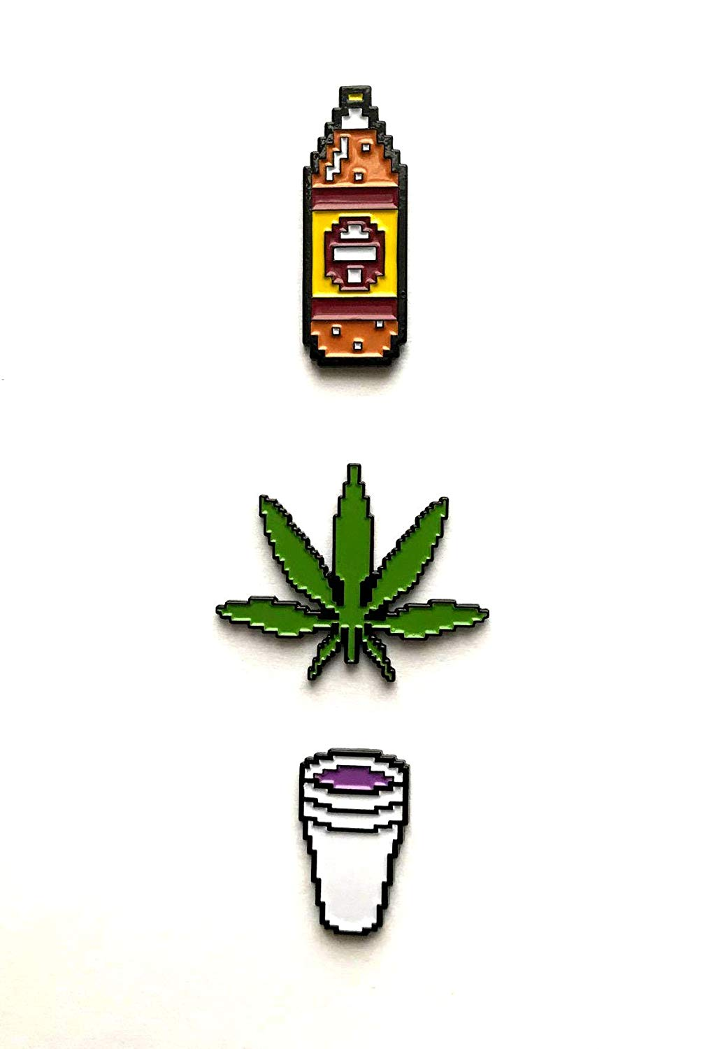 Amazon.com: SET OF 3 Enamel Pins 8 bit Double Cup Weed Leaf.