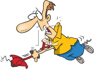 A Colorful Cartoon of a Man with a Runaway Weed Trimmer.