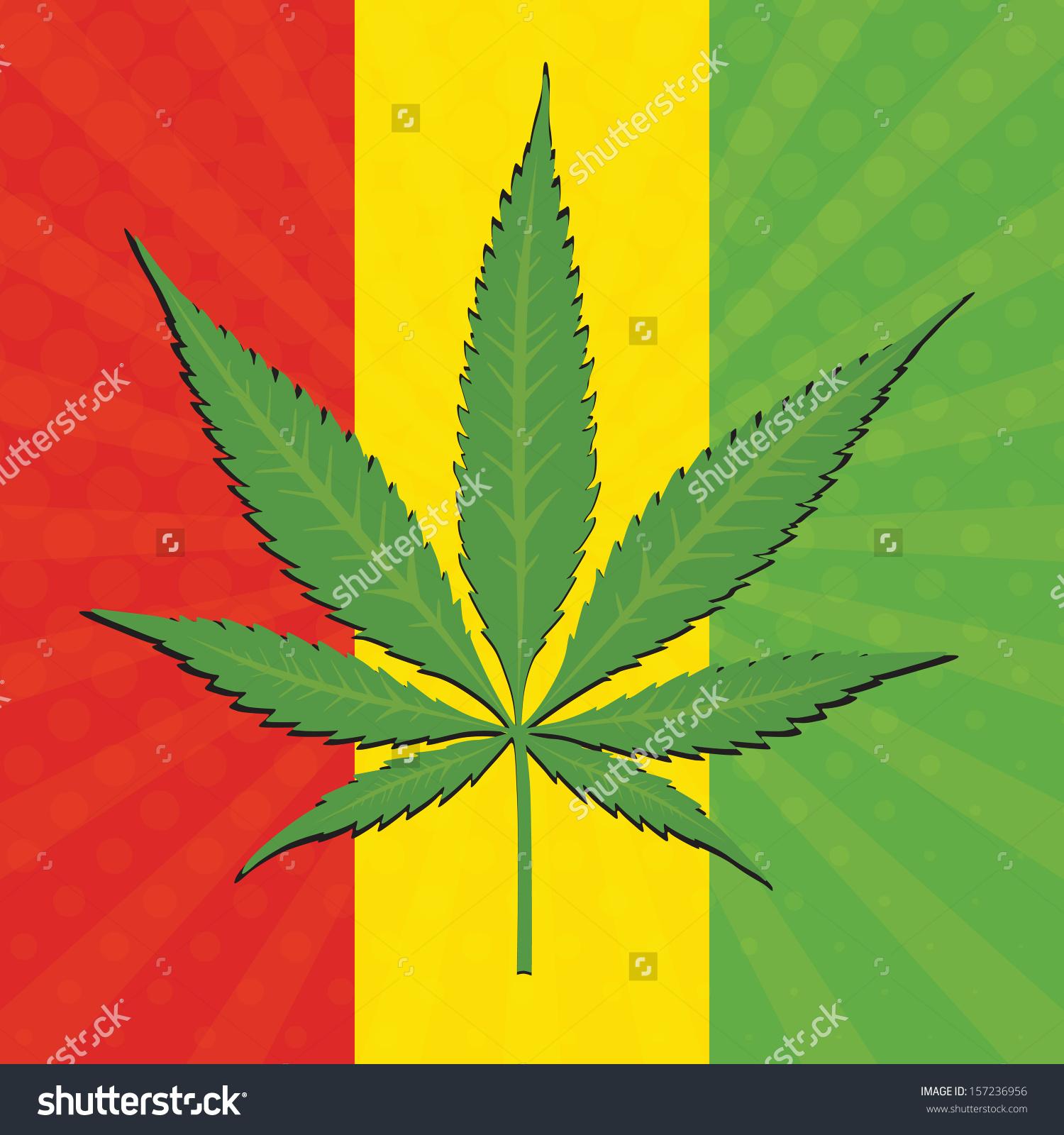 Vector Cannabis Leaf Flag Ethiopia Background Stock Vector.
