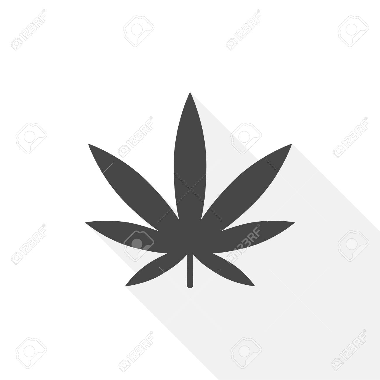 Marijuana leaf icon with long shadow.