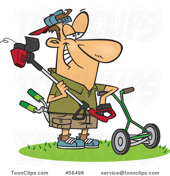 Cartoon White Lawn Warrior Guy Ready to Mow and Weed Whack.
