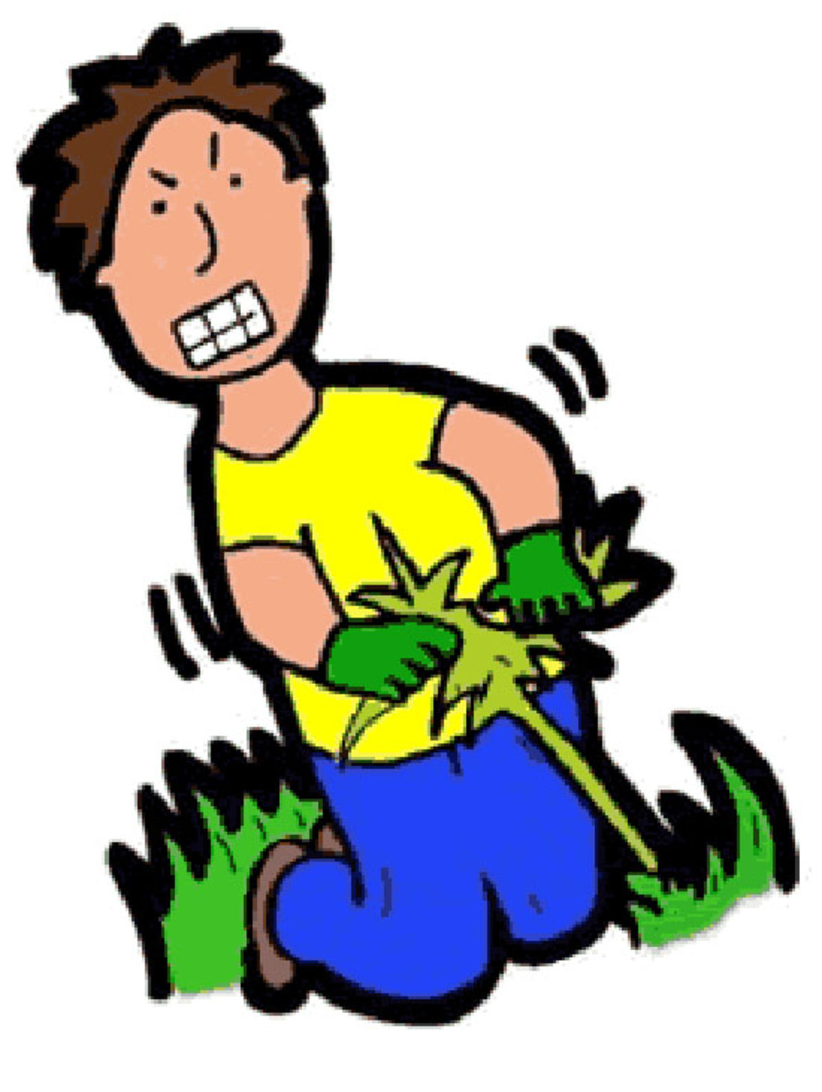 Pulling weeds clipart.