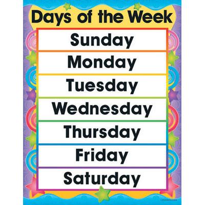 Days Of Week Calendar Clipart.