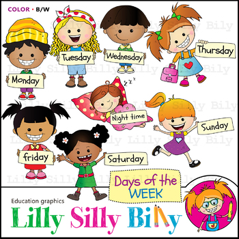 Days of the week. Clipart. BLACK AND WHITE & Color Bundle. {Lilly Silly  Billy}.