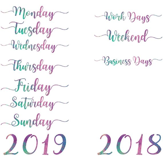Word art clipart, months of the year, days of the week.