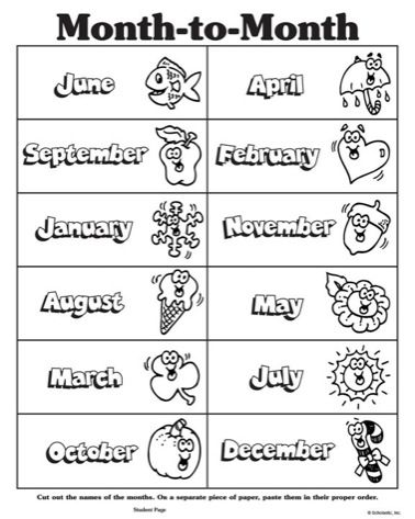 Months of the year clipart black and white #9.