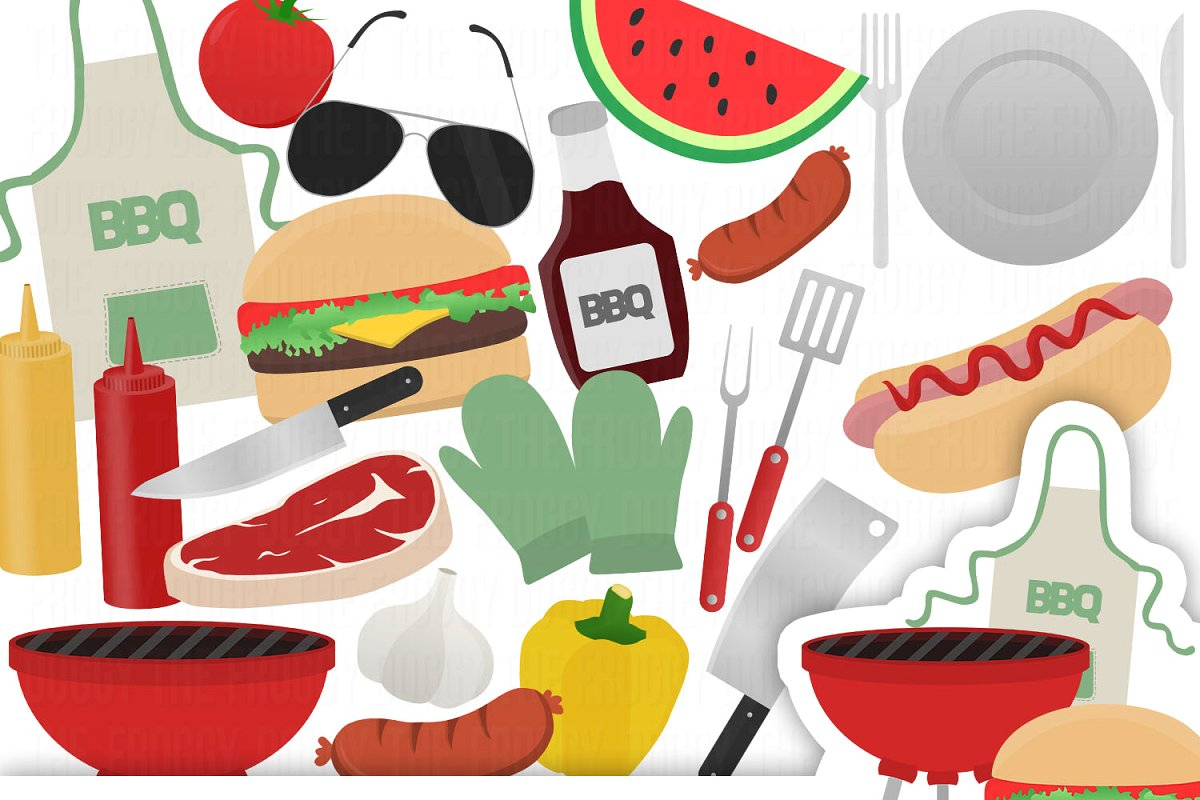 Barbecue Clipart Set.