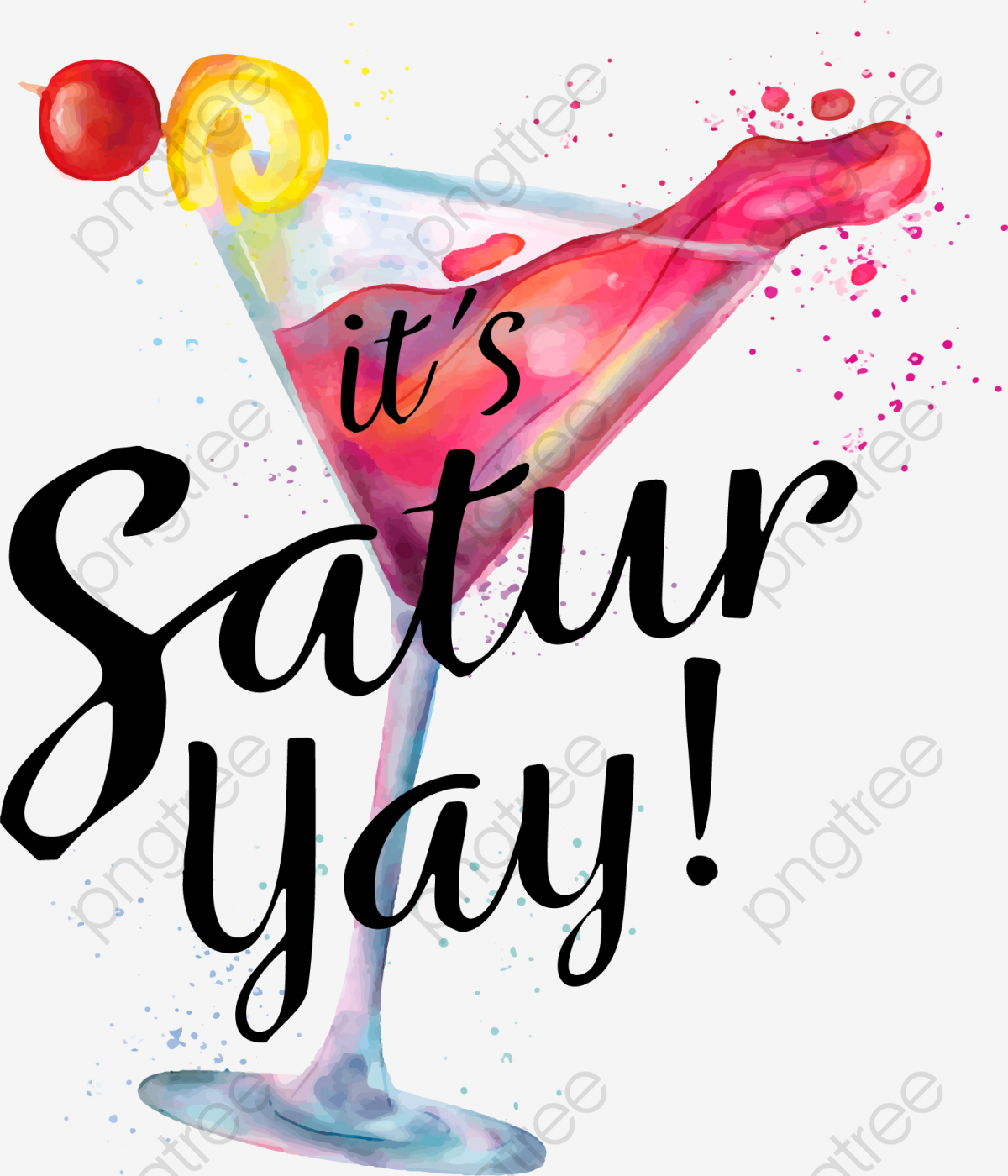 Watercolor Cocktail, Summer Party, Weekend Party, Happy Weekend PNG.