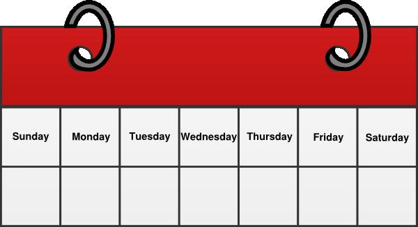Weekly calendar clipart sunday.