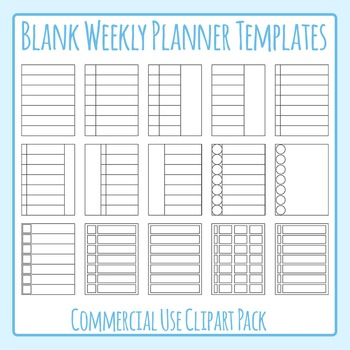 Weekly Planner Blank Templates Clip Art for Commercial Use.