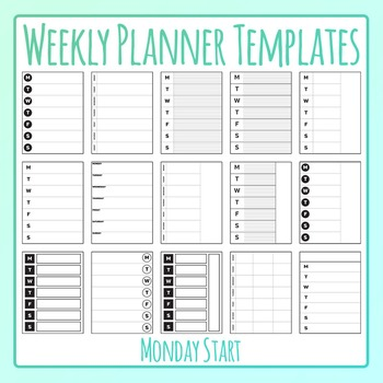 Weekly Planner Monday Start Templates Clip Art for Commercial Use.