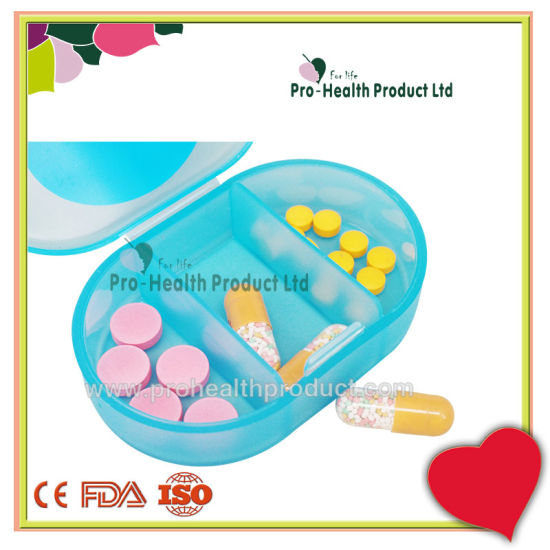 3 Compartments Medication Pocket Plastic Pill Box Three Compartments Pill  Organizer Case.