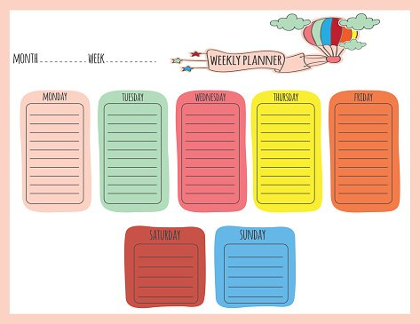 Cute Weekly Planner Clipart Image.