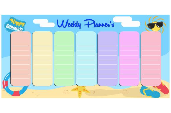 Cute vector weekly planner template.