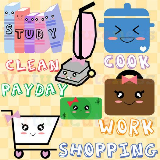 Weekly Planner Clipart, To Do List, Checkbook, Credit Card.