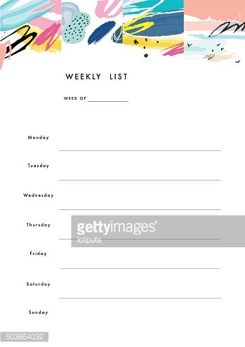 Weekly Planner Template. Organizer and Schedule Clipart.