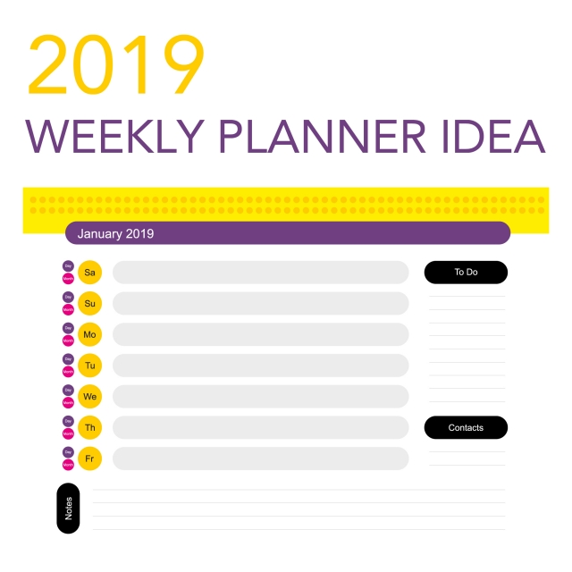 2019 Weekly Planner, Planner, Weekly PNG and Vector with Transparent.