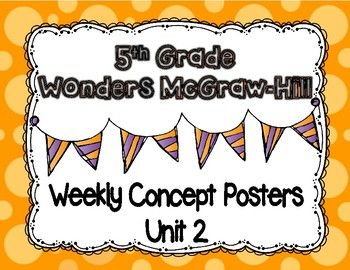 Wonders McGraw Hill 5th Grade Weekly Concept Posters.