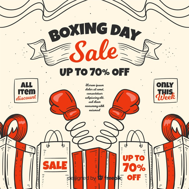 Hand drawn boxing day sale concept Vector.