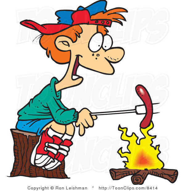 Cartoon Boy Roasting a Weenie.