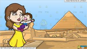A Mom Carrying Her Crying Son and Pyramids Of Giza Background.
