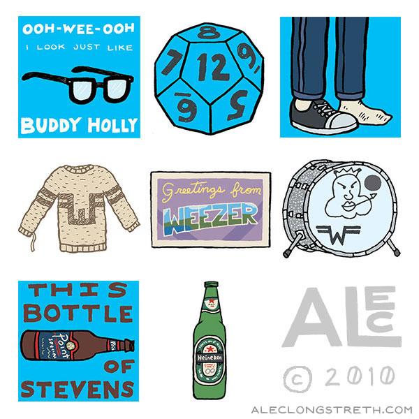 Alec Longstreth Illustration Blog: Weezer Icons: The Blue Album.