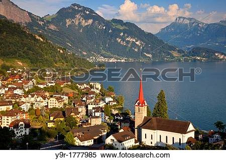 Stock Image of View over the town of Weggis on the shore of Lake.