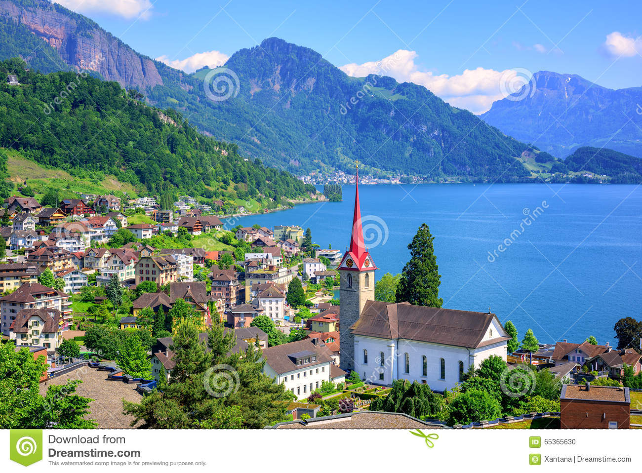 Lake Lucerne And Alps Mountains By Weggis, Switzerland Stock Photo.