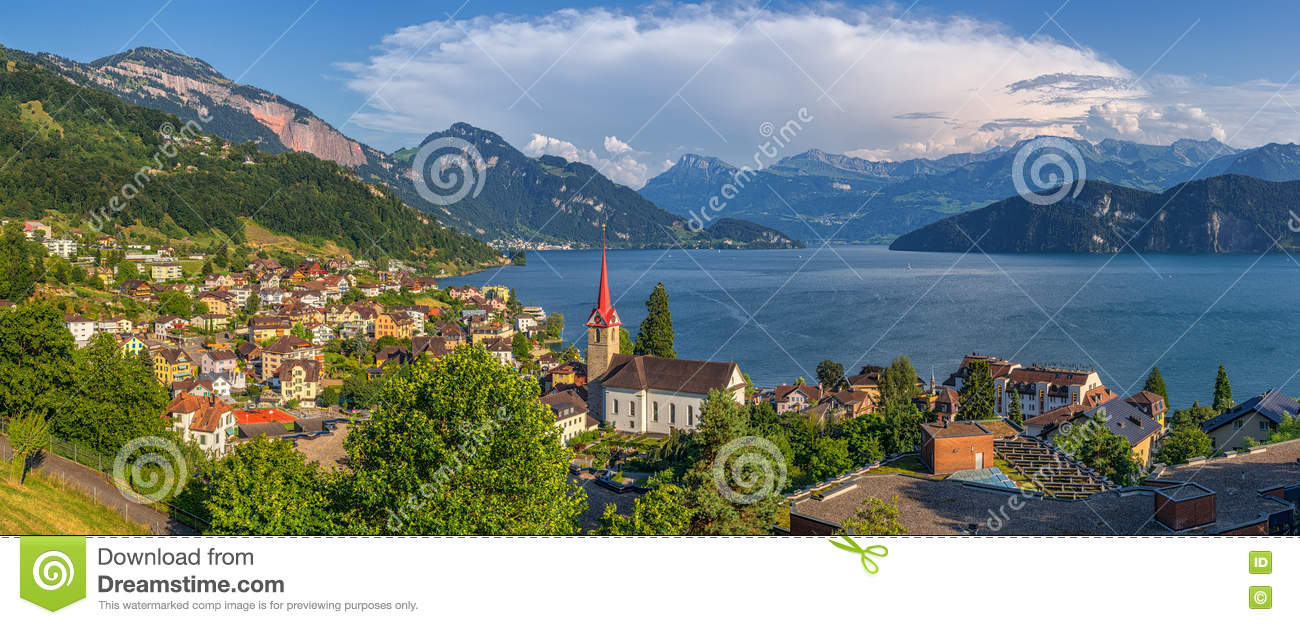 Beautiful Mountain Scenery With Village Weggis At Lake Lucerne.
